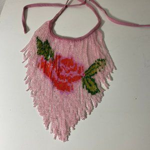 Pink Rose Statement Necklace Beaded Bib and Tie